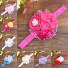 Lovely Newborn Kids Baby Girls Lace Pearl Flower Headband Hair Band Headwear