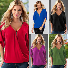 Sexy Womens V-neck T Shirt Tops Blouse Casual Short Sleeve Oversized Ladies Tee