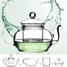 400-1000ML Heat Resistant Clear Glass Teapot With Infuser Coffee Tea Herbal Pot