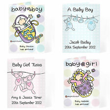 Personalised New Baby Boy Girl Twins Card Babies Birth Congratulations Cards