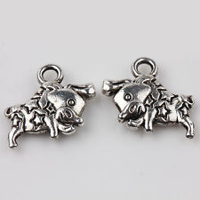Lots 10/20Pcs Carved Smooth Tibetan Silver Charms Pendants Crafts DIY 14*11mm