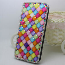 3D Diamonds Crystals Pearls Leather Slot Wallet Pouch Flip Stand Case Cover Skin