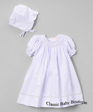 NWT Petit Ami Lavender Voile Smocked Bishop Dress Bonnet 3 6 9 Months Baby Girls