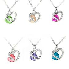Women Heart Crystal Rhinestone Chain Silver Pendant Necklace Fashion Jewelry