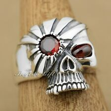 925 Sterling Silver Red CZ Stone Eyes Mummy Skull Mens Ring 9M014A US Size 8~13
