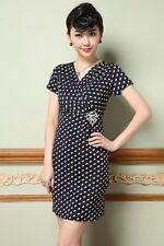 New Womens Short Sleeve Polka Dot Casual V-Neck Bodycon Mini Dress Goddess