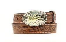 Nocona Youth Floral Brown Leather Belt with Belt Buckle N4410402