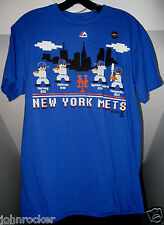NEW YORK METS MLB 8 BIT RETRO ATARI LOOK ROYAL BLUE MAJESTIC ADULT T-SHIRT NWT