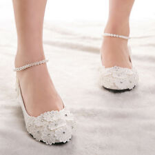 Romantic Pearl Across Top New Shoes Women Wedding Party Bridal Bead Lace Flats