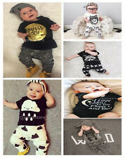 Fashion Kids Baby Boy T-shirt Tops + Pants Leggings Outfits Summer Clothing 0-3Y