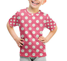 Polka Dots on Hot Pink Kids Cotton Blend T-Shirt Unisex All-Over-Print