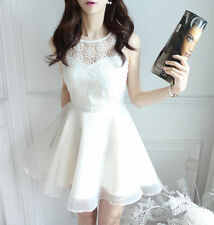 Korean Elegant Womens Summer Lace Embroidered Organza Sleeveless Slim Mini Dress