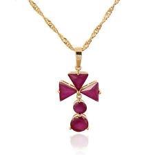 18K Gold Plated Multicolor CZ Triangle Flower Pendant March Long Chain Necklace