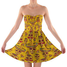 Mexican Sugar Skulls in Gold Sweetheart Skater Dress Strapless XS-3XL