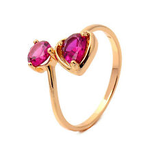 Delicate Heart 18K Yellow Gold Plated Garnet Round CZ Promise Fine Band Ring
