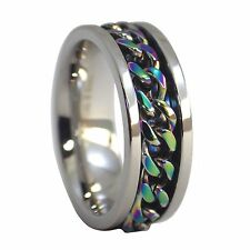 Rainbow Spinner Ring | Stainless Steel Rainbow Chain Spinner Ring | Worry Band