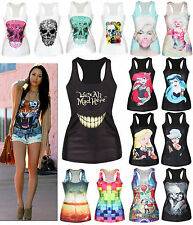 Sexy Women Print Tank Tops Vest Blouse Gothic Punk Sleeveless T-Shirts Tee Shirt