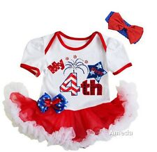Baby First 4th of July Fireworks White Red Bodysuit Tutu and Headband