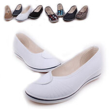 Women Casual Comfort Flats Hidden Heel Slip-On Breathable Cloth Shoes Work Shoes