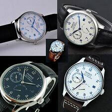 43mm Parnis Power Reserve Black&White Dial Seagull automatic Date Mens' Watch
