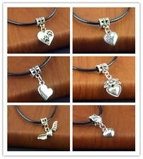Free Loves Tibetan Silver Pendant PU Leather String Necklace 20 inch Cords New