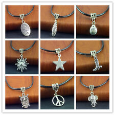 Free Hot Tibetan Silver Pendant PU Leather String Necklace 20 inch Cords Set New