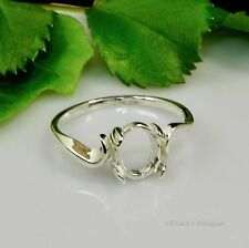 (7x5 - 10x8) Oval Swirl Shank Cabochon (Cab) Sterling Silver Ring Setting