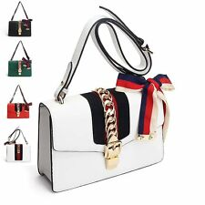 Fashion Bow Deco Leather Women Handbags Colored Ribbon Shoulder Crossbody Bags