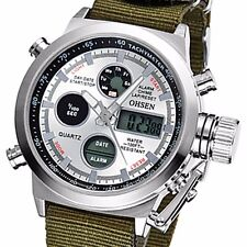 OHSEN New Mens Quartz Sport Army Wrist Watch Date Black/White Face Waterproof