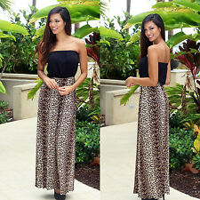 Women Sexy Off Shoulder Tube Formal Evening Party Dress Long Maxi Leopard Skirt