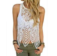 Hollow Out See-Through Women's Sexy White Lace Tank Top Asymmetrical Top