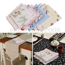 1/5/10Pcs Flowers Bird Floral Handkerchiefs Cotton Hankies Ladies Quadrate Hanky