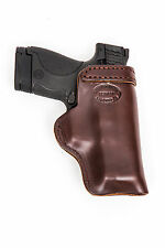 Glock 42,43,19 Brown Leather Gun Belt Conceal Pistol Holster Right Hand IWB/O HD
