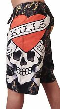 NEW ED HARDY AUDIGIER AUTHENTIC MEN'S LOVE KILLS BLACK BOARD SHORTS SWIM TRUNKS