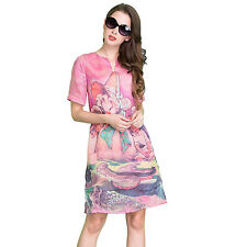 Lady Fashion Summer Beach Short Sleeve V Neck Floral Dress Casual Party Sundress