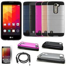 Phone Case For LG Escap 3 4g LTE Brush Textured Cover USB Charger Film - Cricket