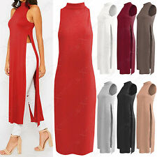 NEW WOMEN SLEEVELESS LONG SIDE SPLITS VEST POLO NECK TOP LADIES JERSEY DRESSES