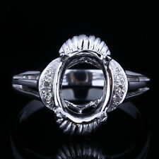 Semi Mount Oval 9x7mm Solid 14K Gold Engagement Wedding Ring Natural Diamonds