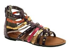 Womens Gladiator Sandals Open Toe Faux Leather Strappy Animal Print Ladies Size