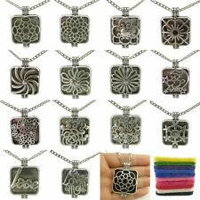 26mm Pad Vintage Silver Square Alloy Flower Love Aromatherapy Locket Necklace