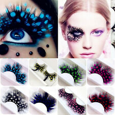 2x Women Polka Dot Long Feather False Eyelashes Makeup Stage Party Fake Lashes