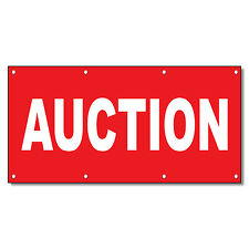 Auction Red Background 13 Oz Vinyl Banner Sign With Grommets