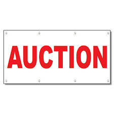 Auction Red 13 Oz Vinyl Banner Sign With Grommets