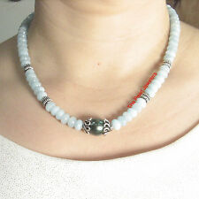 8mm Aquamarine & Silver .925 Bali Beads with Black Tahitian Pearl Necklace TPJ