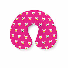 Hot Pink Polar Bears Geometric Travel Neck Pillow - Inflatable