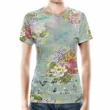 Grunged Florals on Green Women Cotton Blend T-Shirt XS - 3XL Sublimation All-Ove