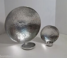 2 West Elm Textured Hammered Round Wall Sconces Tea Light Pillar Candle Holder-