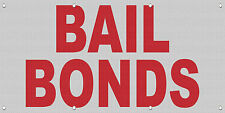 Bail Bonds Red MESH Windproof Fence Banner Sign
