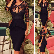 Womens Sexy Plunge V Neck Lace Evening Cocktail Party Bodycon Pencil Midi Dress
