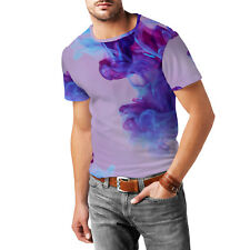 Purple Inky Waters Mens Cotton Blend T-Shirt XS - 3XL Sublimation All-Over-Print